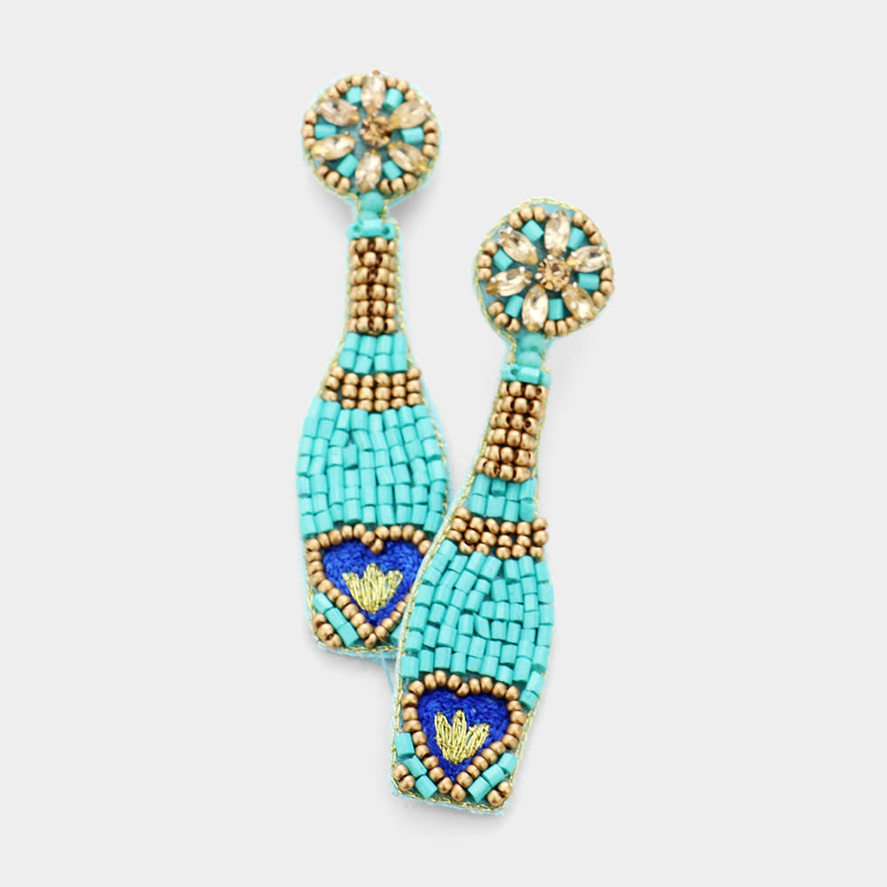 Fleurish Home Felt Back Heart Accented Beaded Champagne Dangle Earrings - Turquoise