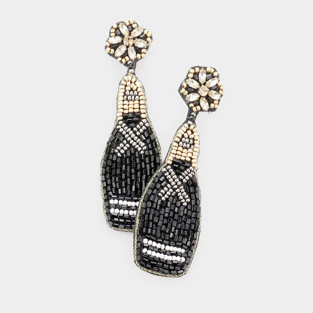 Fleurish Home Felt Back Beaded Champagne Dangle Earrings - Black