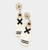 Fleurish Home Felt Back Beaded Champagne Dangle Earrings - White