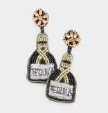 Fleurish Home Felt Back Seed Beaded Tequila Message Detail Dangle Earrings - Black