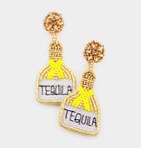 Fleurish Home Felt Back Seed Beaded Tequila Message Detail Dangle Earrings - Lt Col Topaz
