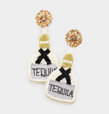 Fleurish Home Felt Back Seed Beaded Tequila Message Detail Dangle Earrings - White