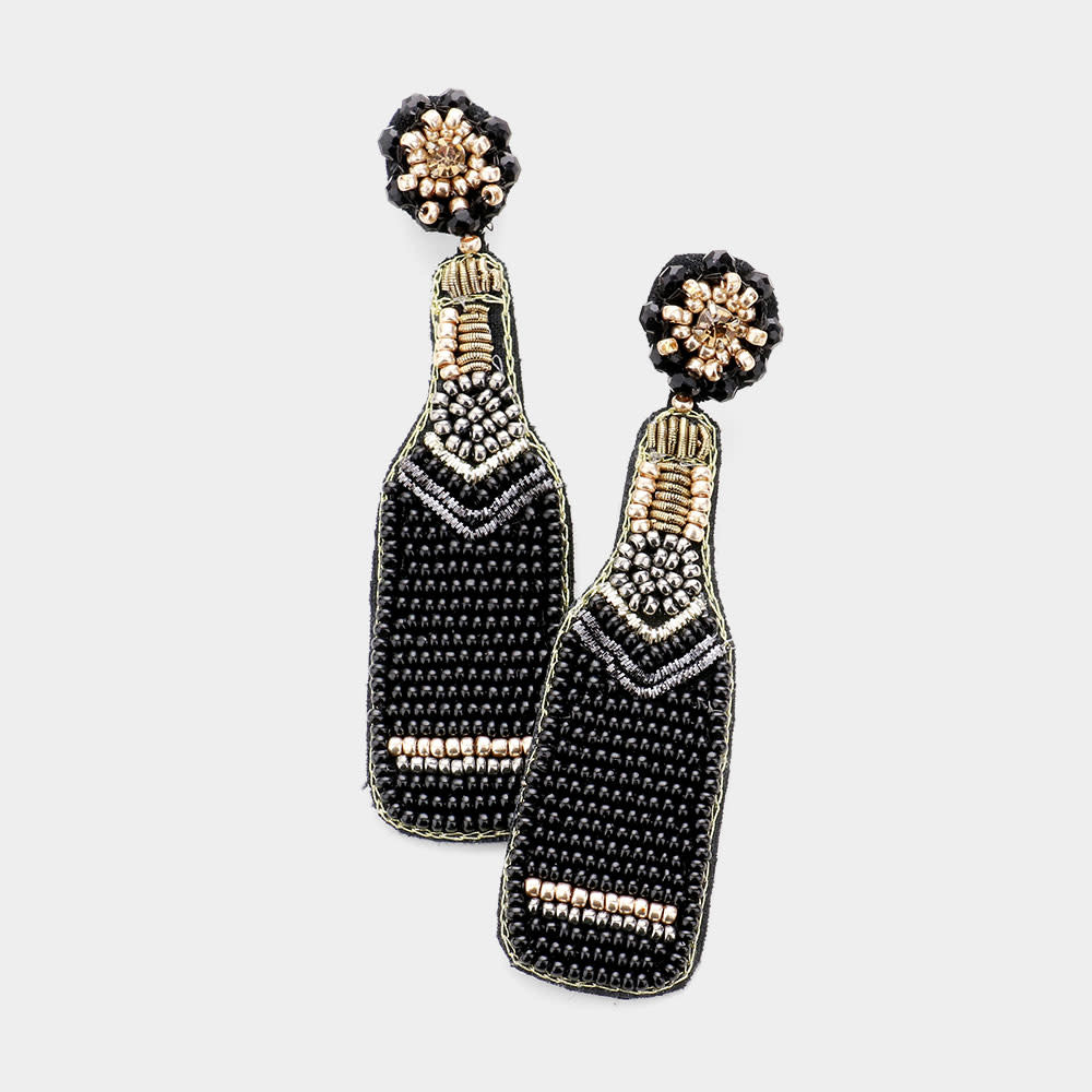 Fleurish Home Felt Back Seed Beaded Champagne Dangle Earrings - Black