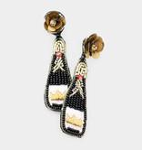 Fleurish Home Felt Back Crown Accented Seed Beaded Champagne Dangle Earrings - Black