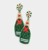 Fleurish Home Felt Back Beaded Champagne Dangle Earrings - Green