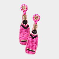 Fleurish Home Felt Back Seed Beaded Champagne Dangle Earrings - Pink