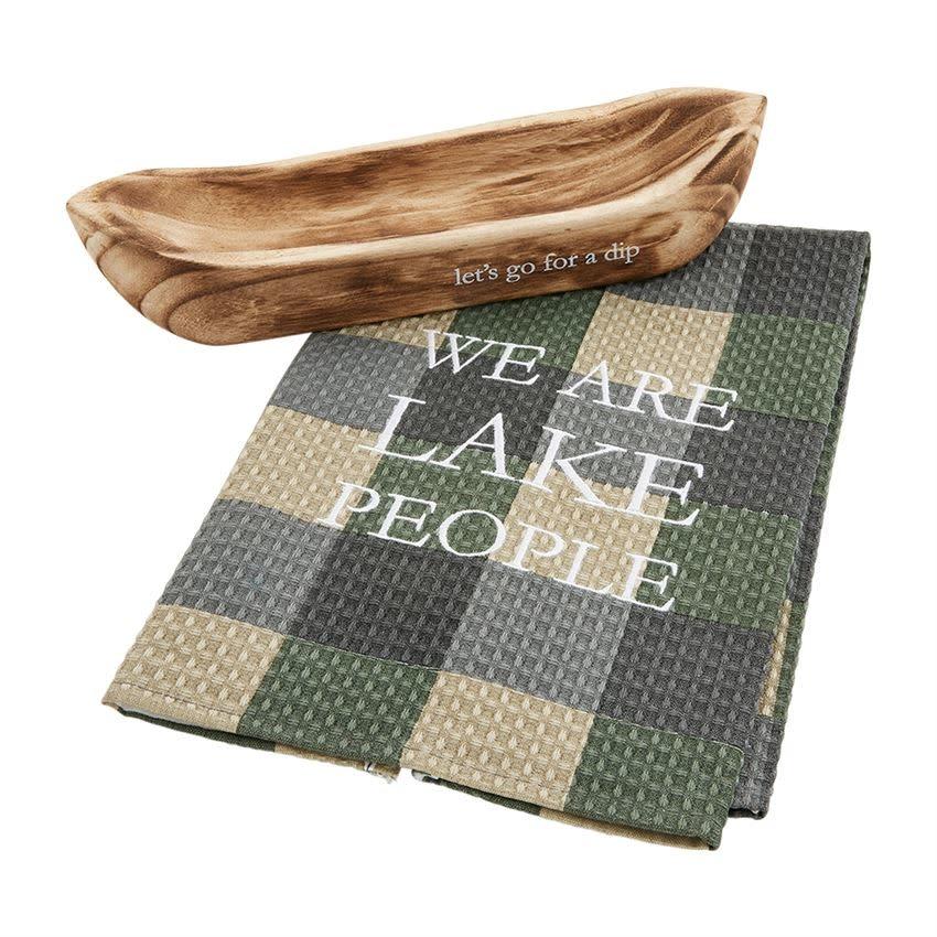 Mudpie LETS GO CANOE TOWEL SERVING SET