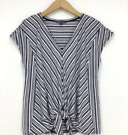 Democracy Short Sleeve V Neck Tie Front Mitered Navy & White Stripe Knit Top