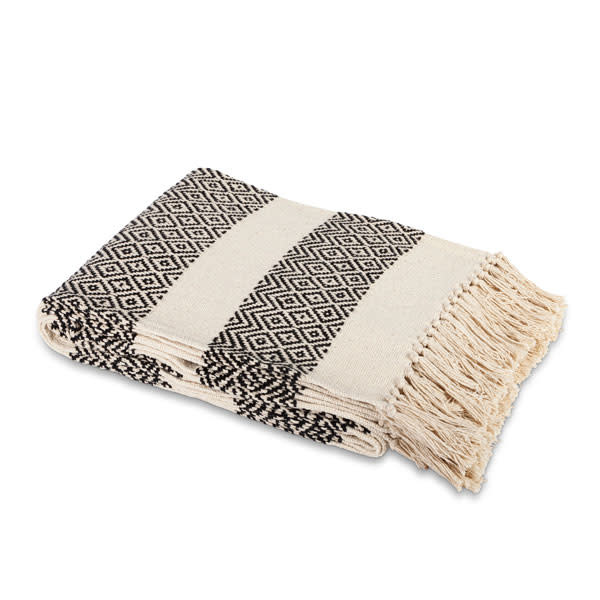 Fleurish Home Black & Cream Striped Cotton Handloom Woven Throw