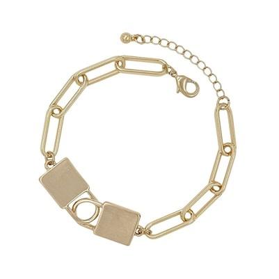 Fleurish Home Gold Locket with Gold Chain Bracelet