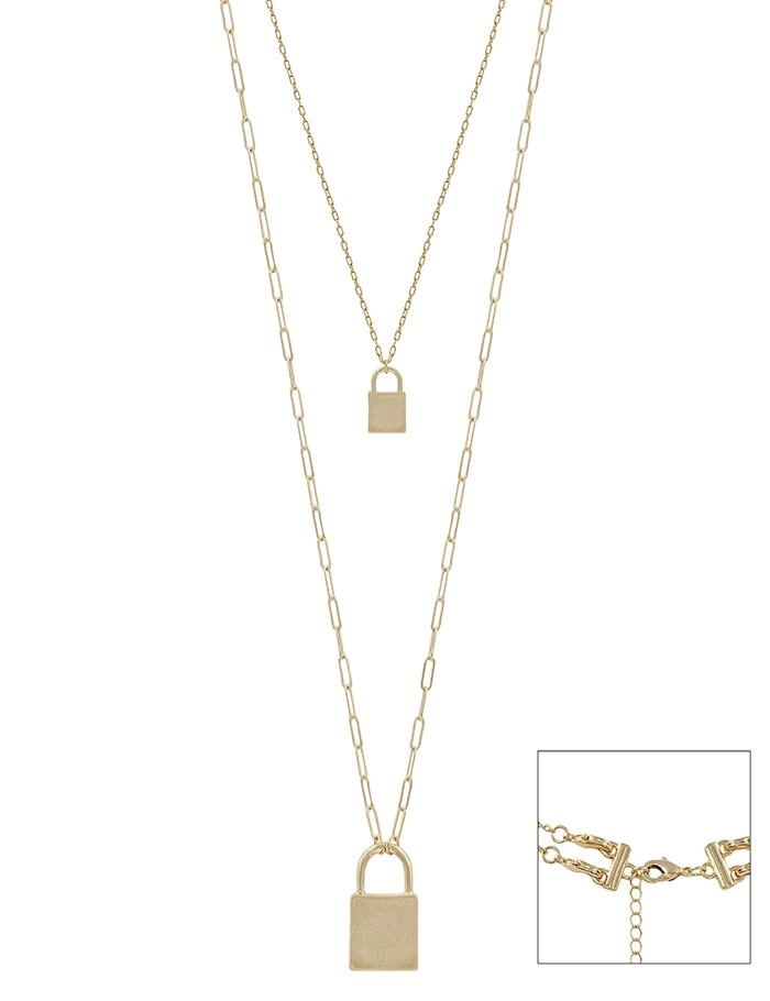 Fleurish Home Matte Gold Locket Double Layered Necklace