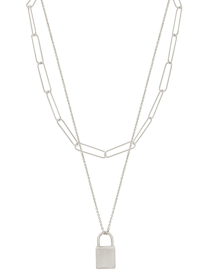 Fleurish Home Matte Silver Chain with Locket Charm Layered Necklace