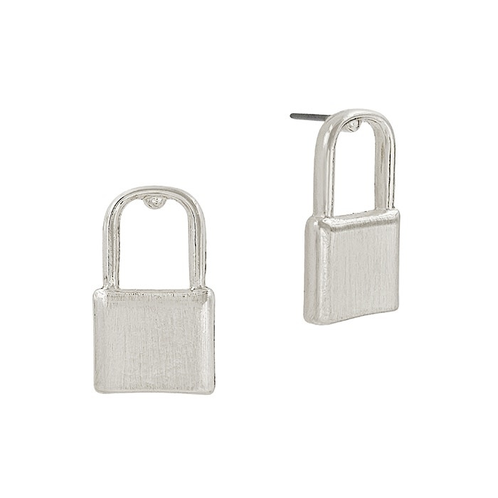 Fleurish Home Silver Locket Stud Earrings