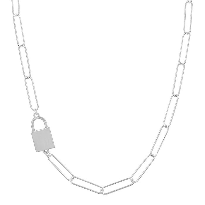 Fleurish Home Matte Silver Open Chain with Locket Accent Necklace