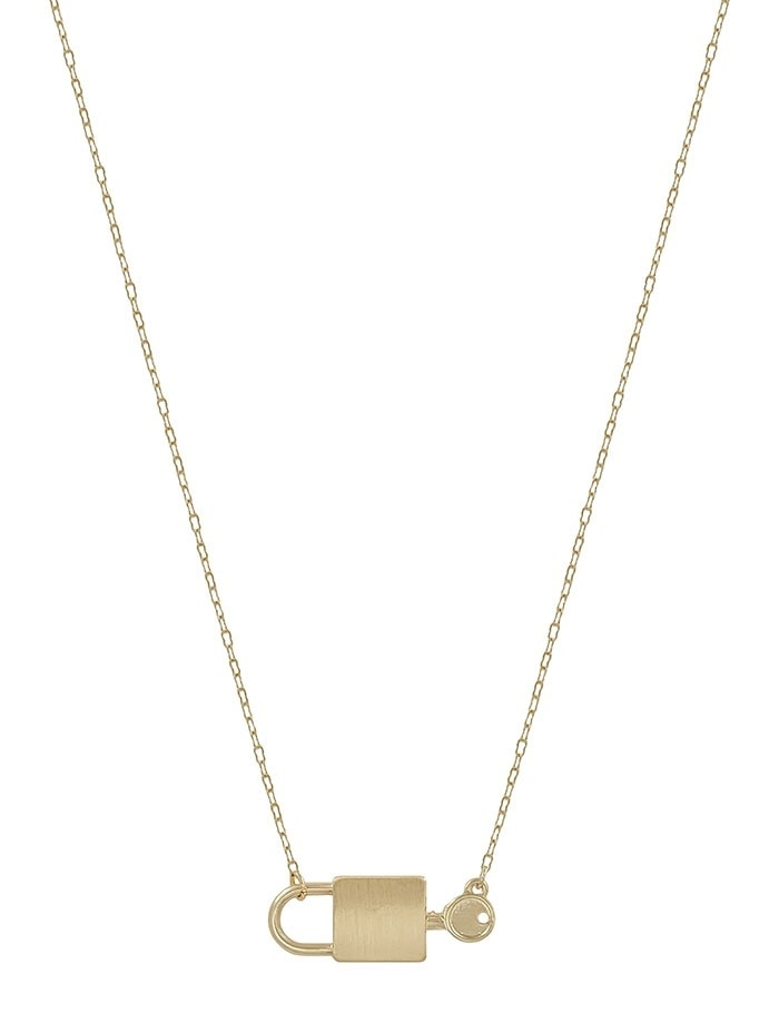 Fleurish Home Matte Gold Lock and Key Necklace
