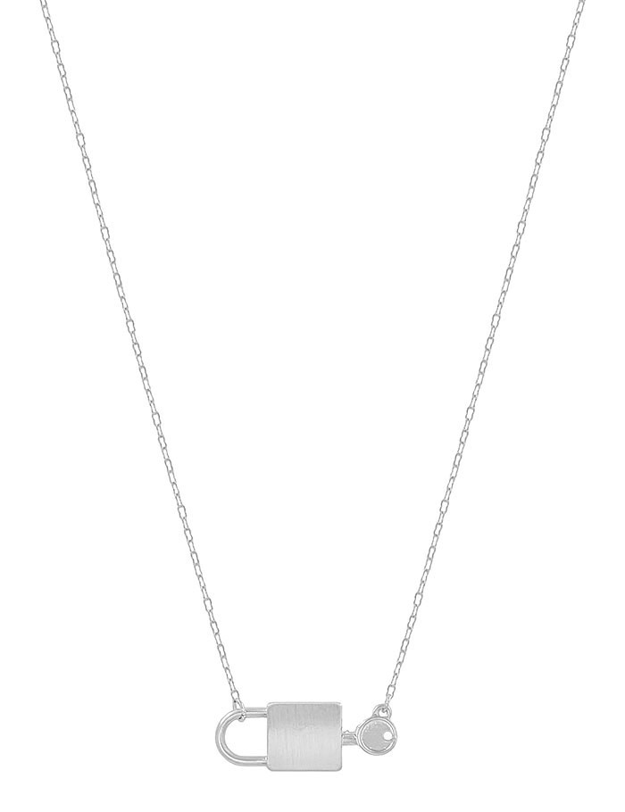 Fleurish Home Matte Silver Lock and Key Necklace