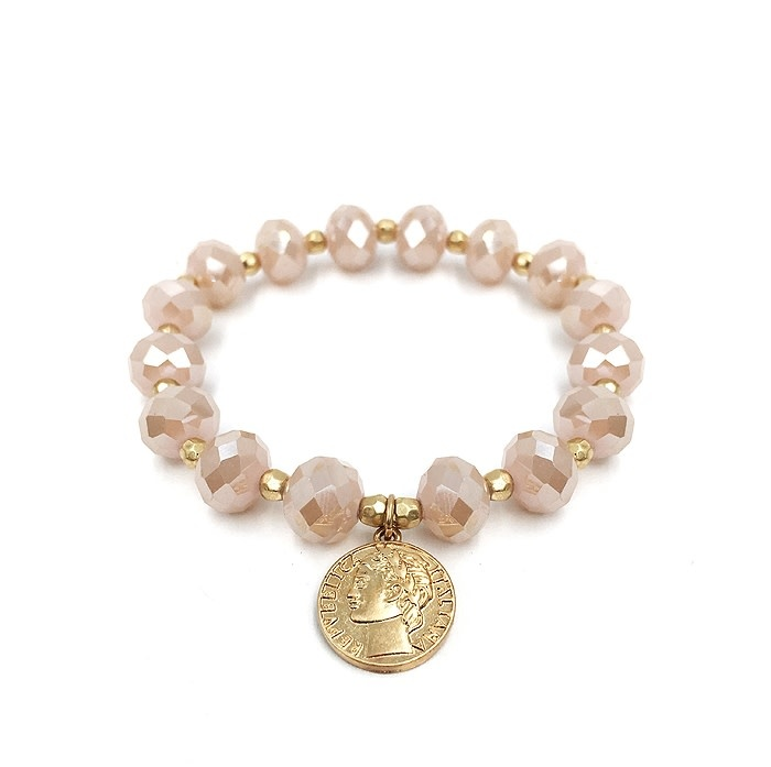 Fleurish Home Blush Pink Crystal with Gold Coin Charm Stretch Bracelet