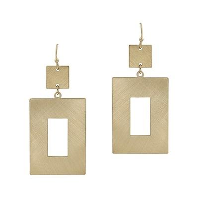 Fleurish Home Matte Gold Open Rectangle Drop Earrings