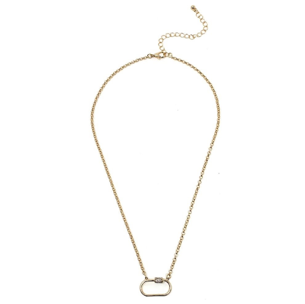 Fleurish Home Gold Chain with Rhinestone Carabiner Necklace