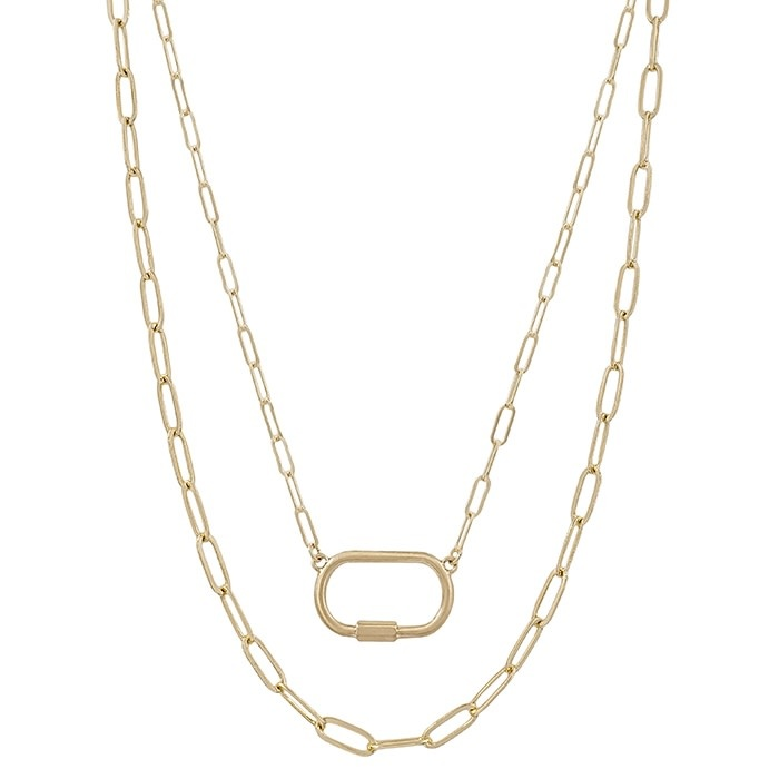 Fleurish Home Matte Open Link  Gold Carabiner Layered Necklace