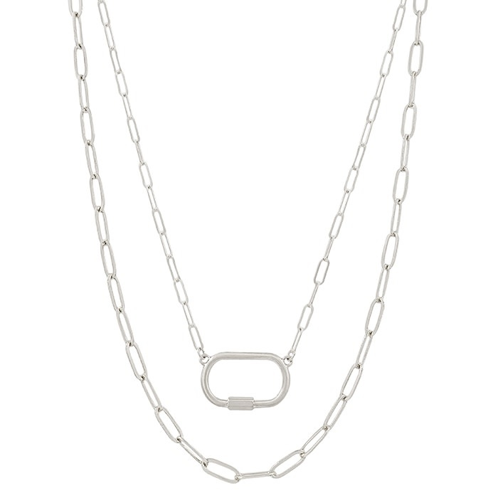 Fleurish Home Matte Open Link Silver Carabiner Layered  Necklace