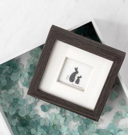 "Sharon Nowlan Bunny Love Pebble Art  6"" Square"