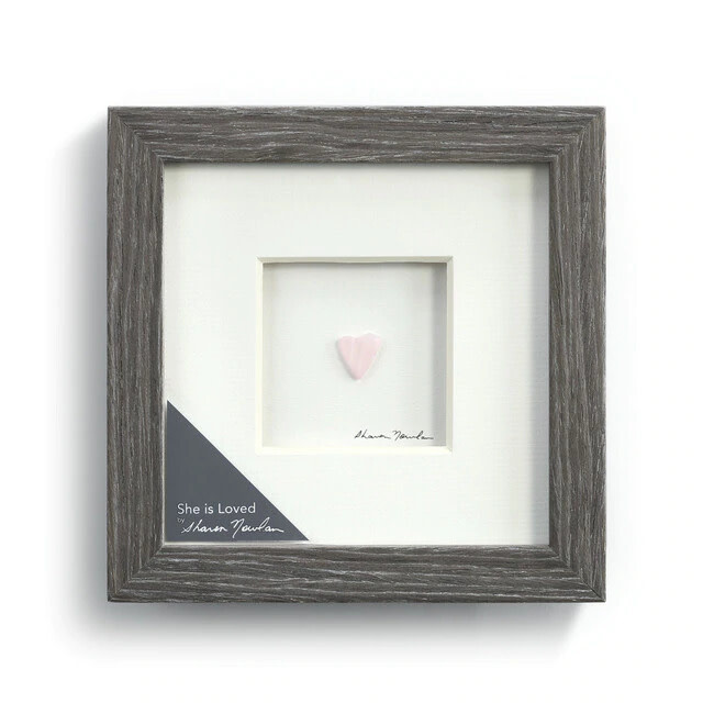 "Sharon Nowlan She is Loved Pebble Art  6"" Square"