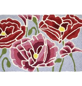 Jellybean Pink and Red Poppies Indoor/ Outdoor Washable Rug