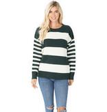 Fleurish Home Hunter Green & White Striped Sweater *last chance