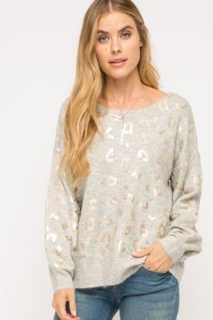 Fleurish Home Grey Sweater w Metallic Leopard Print