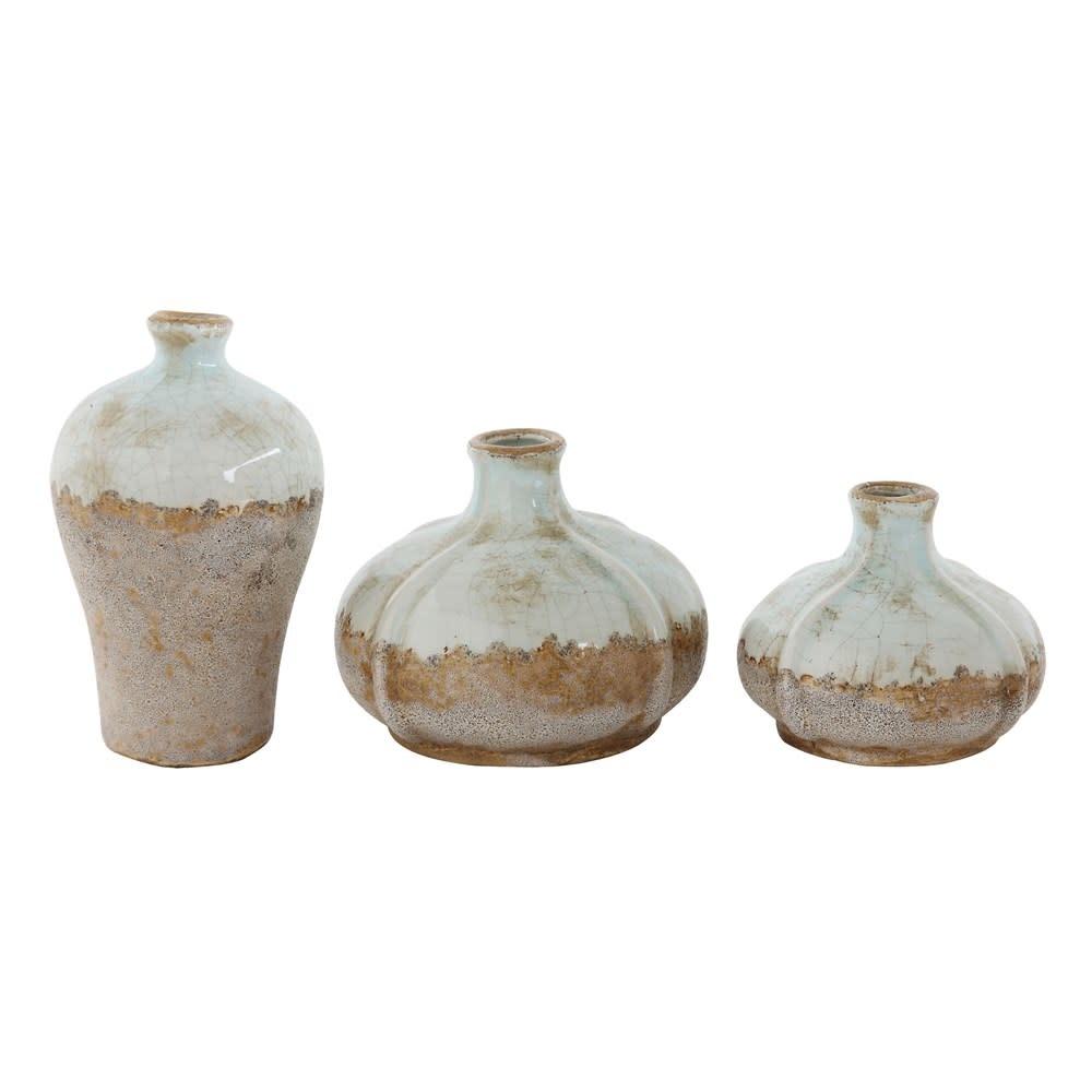 Fleurish Home Large Short Distressed Finish Terra-cotta Vase