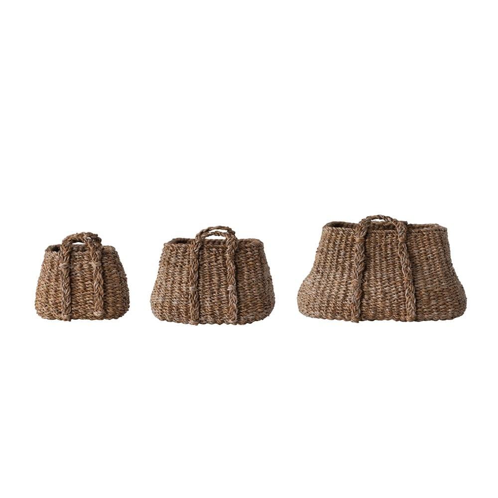 Fleurish Home Medium Natural Woven Square Bottom Seagrass Basket w/ Handles