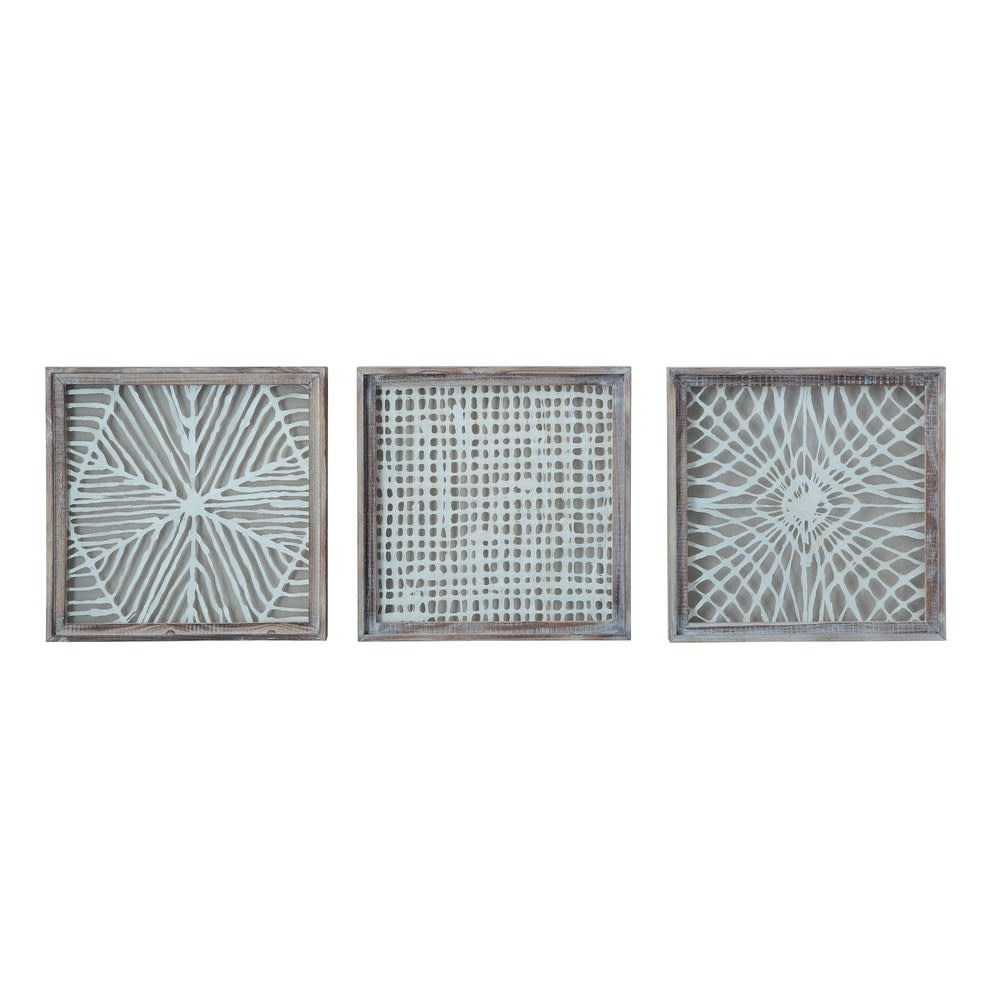 Fleurish Home Large Square Wood Framed Handmade Paper Wall Decor (choice of 3 styles)