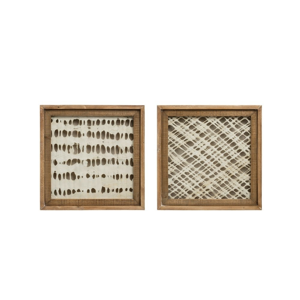 Fleurish Home Small Square Wood Framed Handmade Paper Wall Decor (choice of 2 Styles)