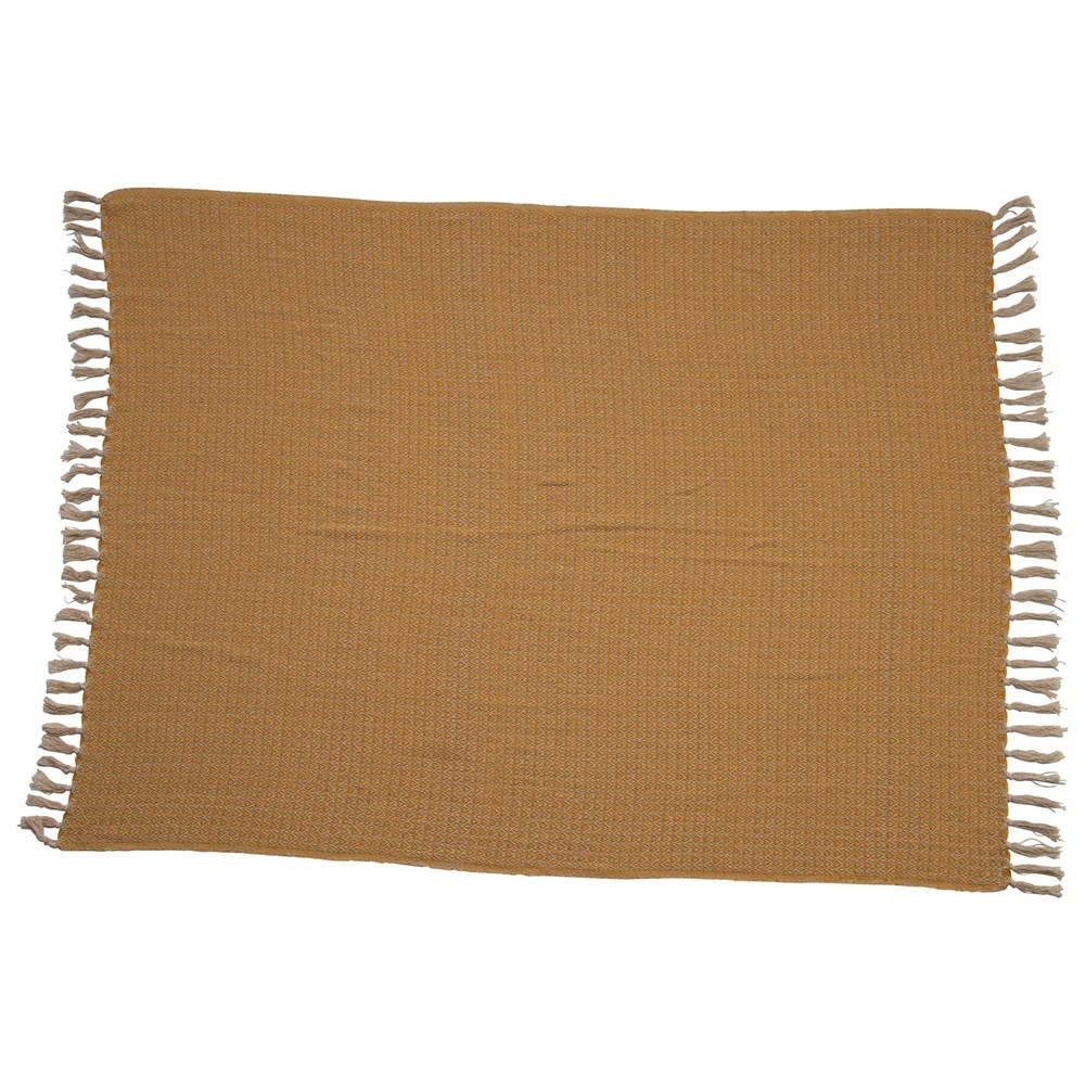 Fleurish Home Mustard Colored Woven Recycled Cotton Throw w/ Fringe