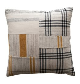 Fleurish Home Black & Mustard Patchwork Pillow