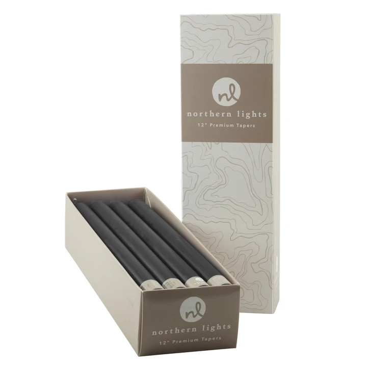 "Northern Lights Graphite 7"" Taper Candle (single candle)"