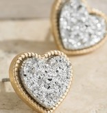 Fleurish Home Heart Druzy-Look Stud Earrings