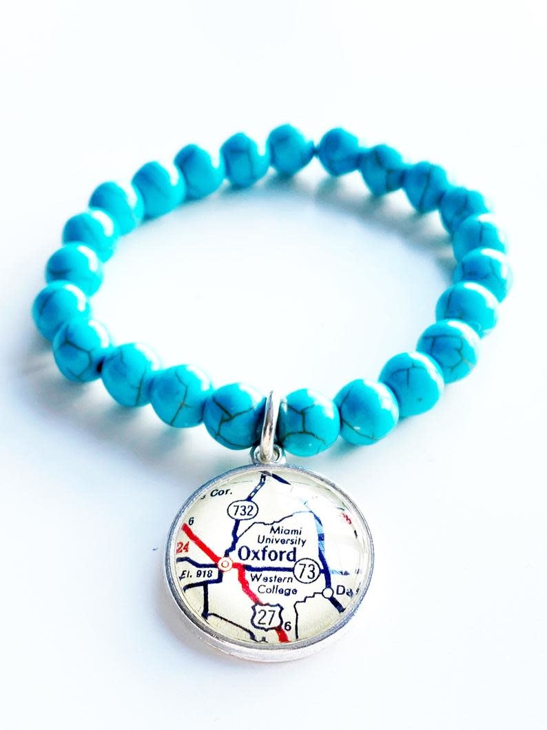 Fleurish Home Miami Oxford Turquoise Stone Bead Vintage Map Charm Bracelet