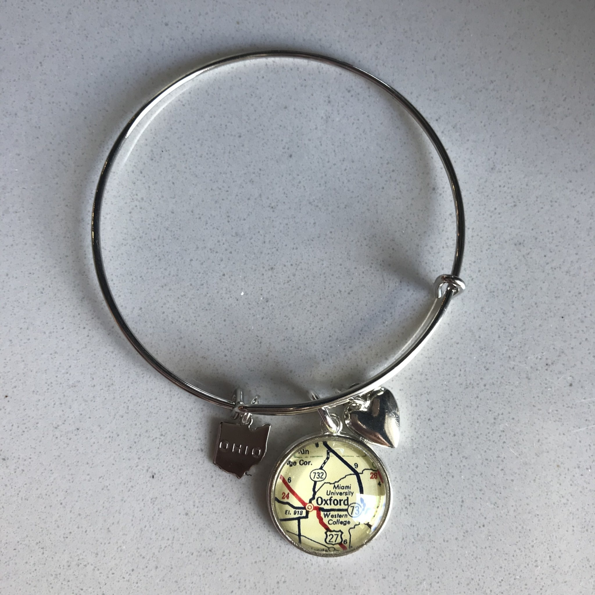 Fleurish Home Vintage Map Charm Bracelet -Brass Oxford/ Miami University