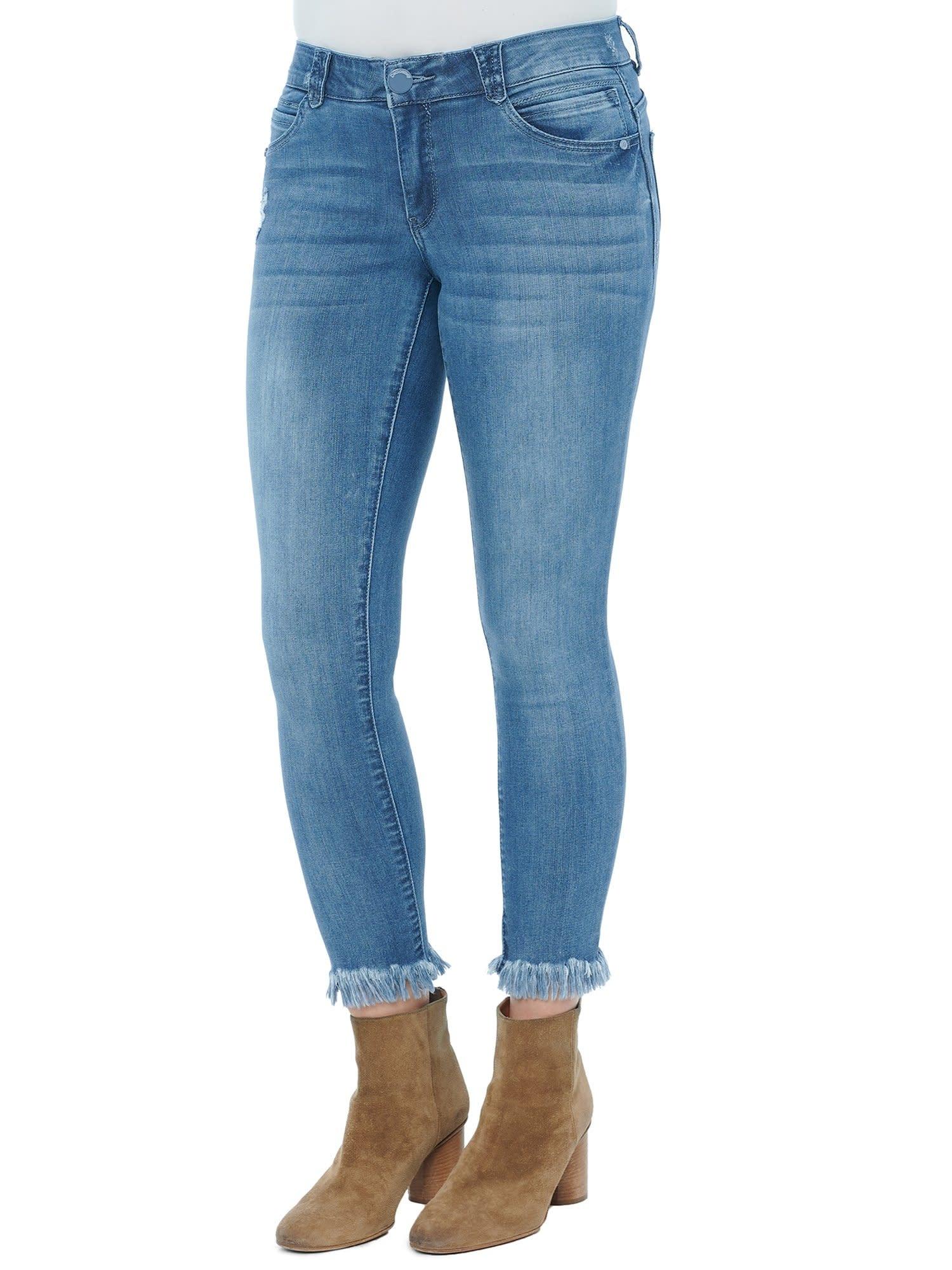 Democracy Light Blue Denim Ankle Skimmer Jeans w Chewed Hem