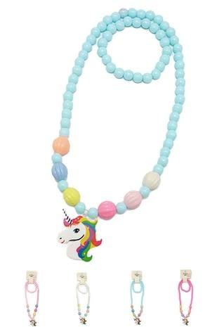Fleurish Home Kid's Unicorn Necklace/Bracelet Set (various colors)