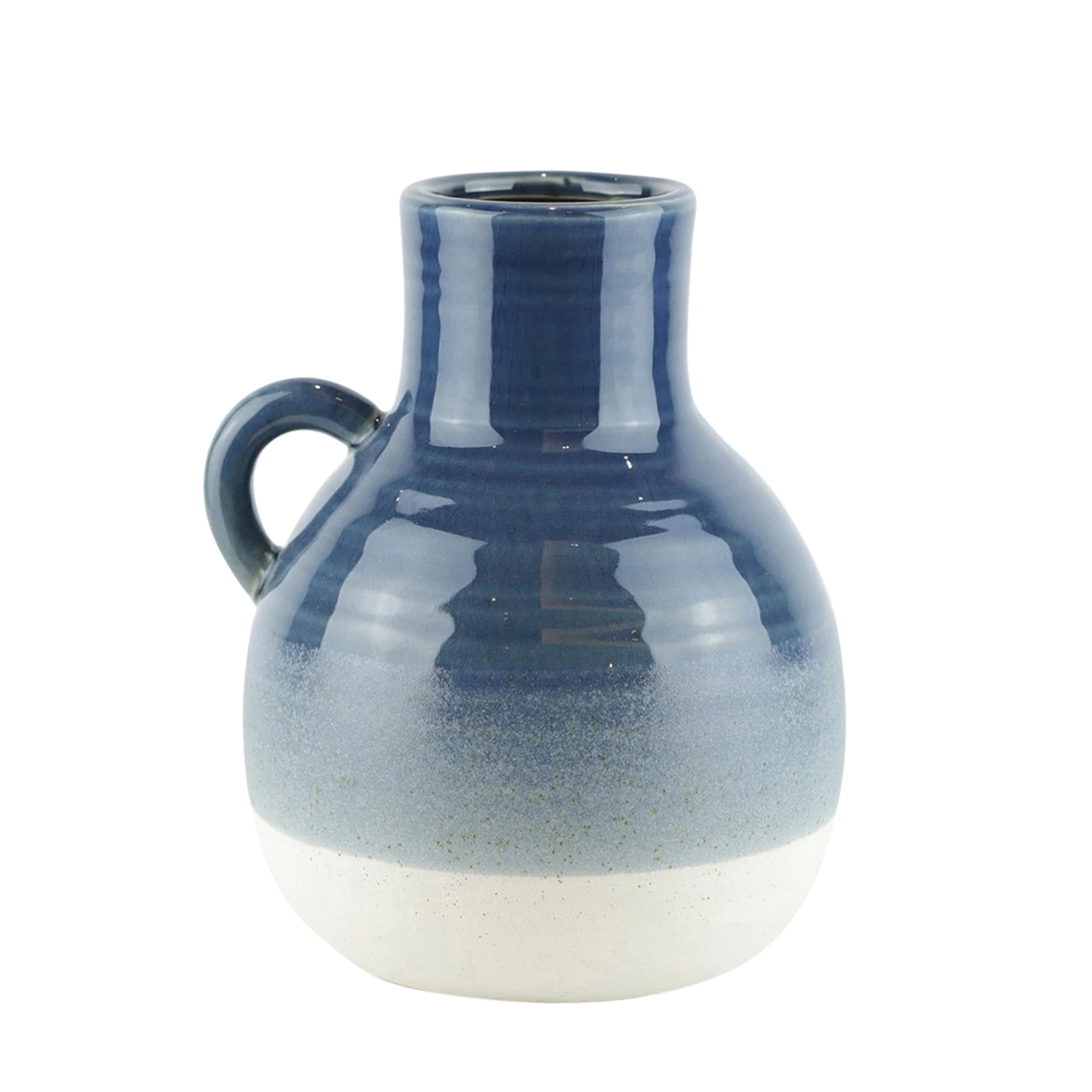 "Fleurish Home CERAMIC 9"" JUG, NAVY / WHITE"