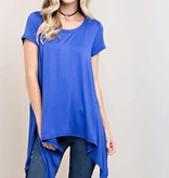 Fleurish Home ROYAL BLUE SHORT SLEEVE ROUND NECK SOLID KNIT TOP