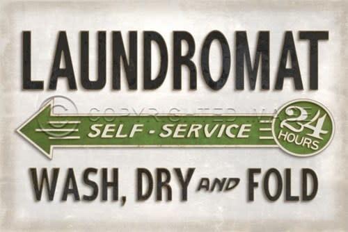 Spicher & Company White Laundromat Vintage Vinyl Floorcloth