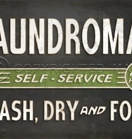 Spicher & Company Black Laundromat Vintage Vinyl Floorcloth