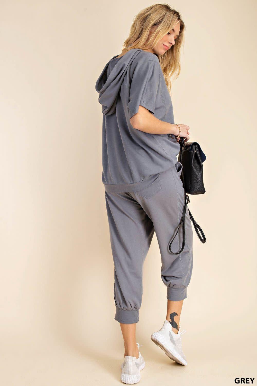 Fleurish Home Short Sleeve Top/ Cropped Jogger Set
