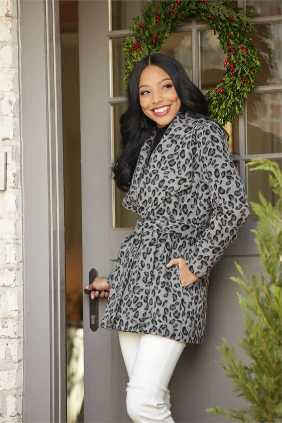 Mudpie Albany Leopard Coat Black-L