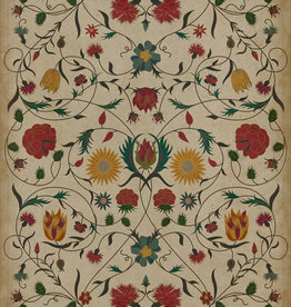 Williamsburg Floral Vintage Vinyl Floorcloth  Abigail 20x30