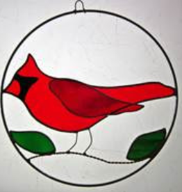 Fleurish Home Cardinal in Circle Stained Glass Suncatcher
